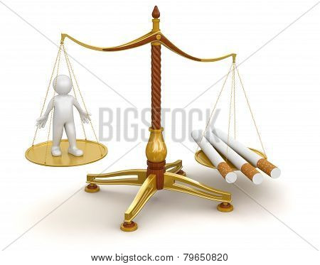 Justice Balance  with Cigarettes and man (clipping path included)
