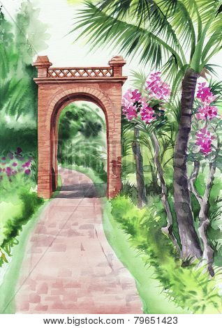 Palm Bamboo Oasis With Decorative Brick Gate