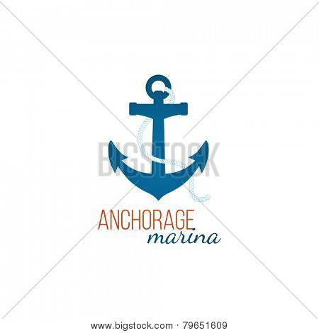 Anchorage marina - logo template with anchor