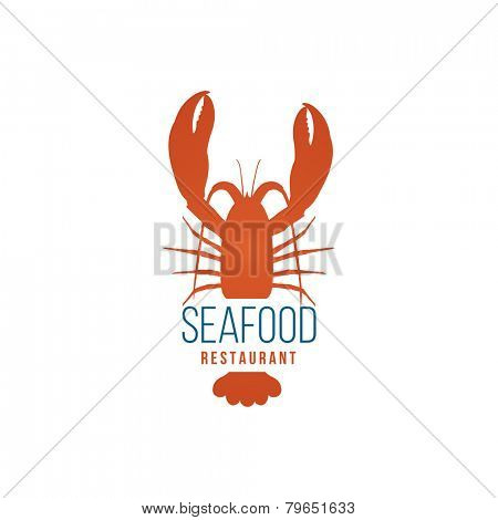 Seafood restaurant logo template with lobster on white background