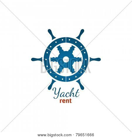 Yacht rent logo template with steering wheel on white background