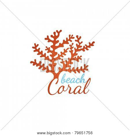 Coral beach logo template over white background
