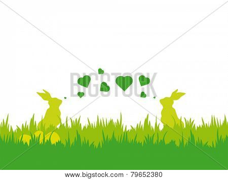 Easter vector illustration with silhouettes of two bunnies blowing valentine hearts, eggs and grass