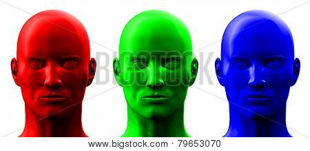 3D en face heads set isolated on white background.