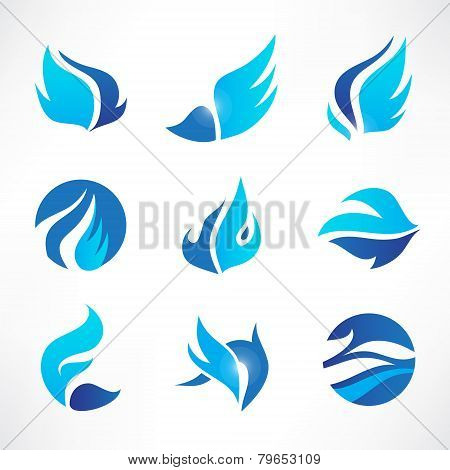 vector set of abstract blue wings, flow, water icons