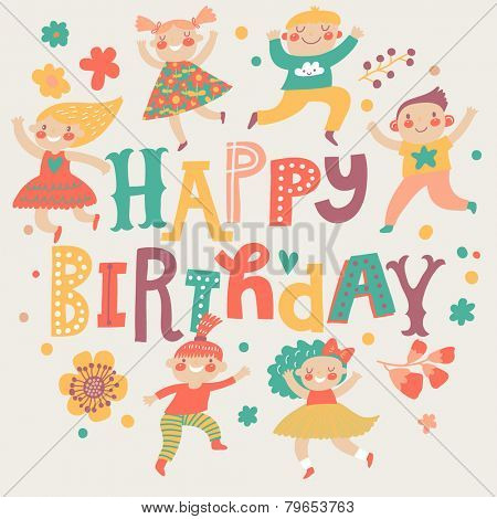 Stylish Happy birthday background. Group of children playing. Six funny kids in cartoon style. Bright childish holiday card in vector. Cute kids jumping and having fun