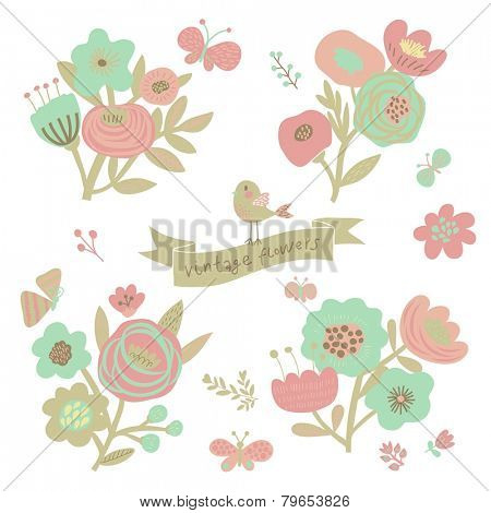 Pastel colored floral elements in vector. Cute vintage set with birds and butterflies. Stylish flowers for modern designs