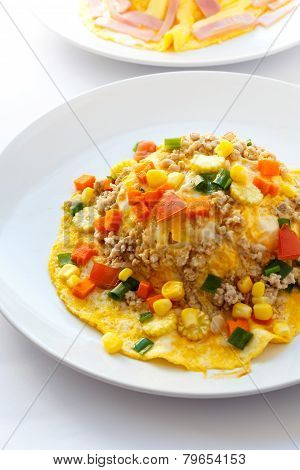 Creamy Melet With Minced Pork And Vegetable.