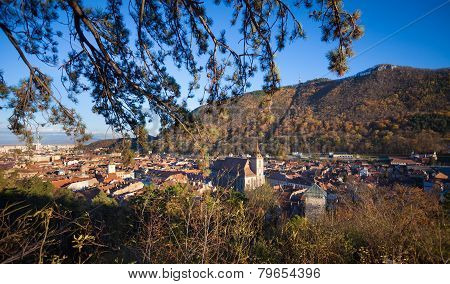 View Of Medieval Brasov City With Tampa Mountain On Background On A Sunny Autumn Day, Romania