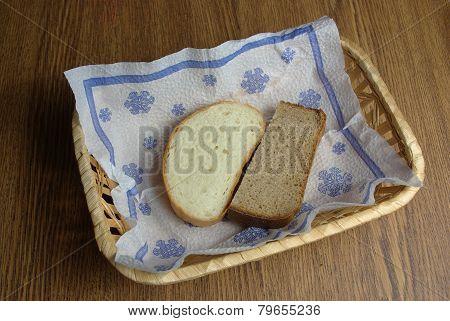Bread in wicker basket
