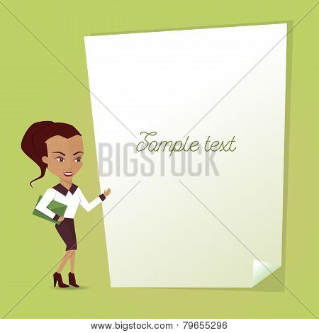 Illustration of an empty signage with a businesswoman