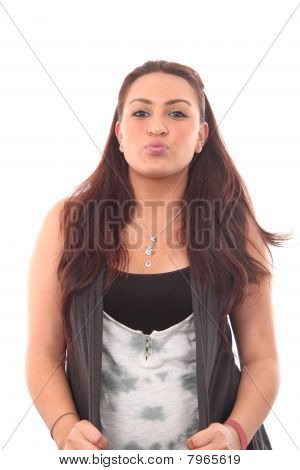 Sensual Woman Sending A Kiss