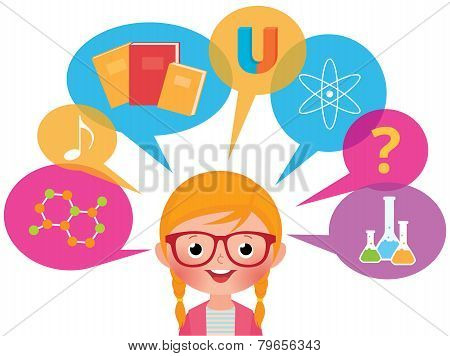 Girl Studying Different Sciences