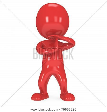 Red Cute Man Show Time Out Gesture