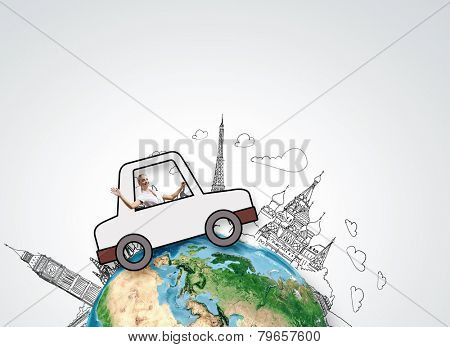 Young girl driving drawn little funny car. Elements of this image are furnished by NASA