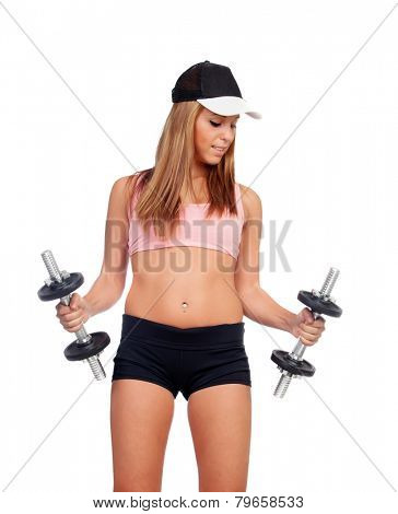 Attractive woman with dumbbells training isolated on white background