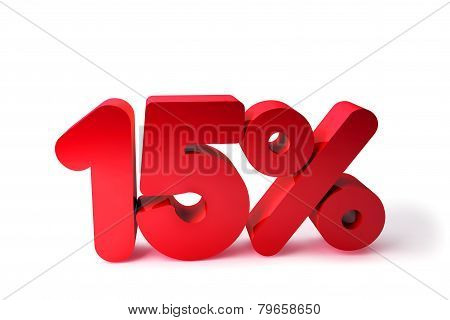 15% 3D Render Red Word Isolated in White Background
