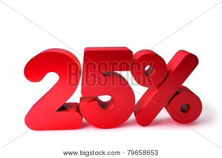 25% 3D Render Red Word Isolated in White Background