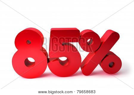 85% 3D Render Red Word Isolated in White Background