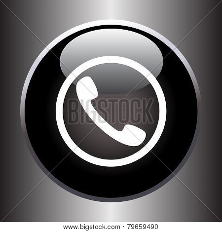 Phone handset icon on black glass button