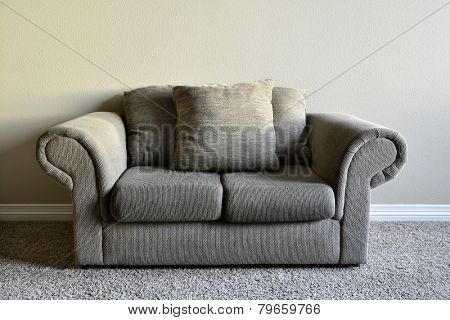 Brown comfortable couch inside home house inviting