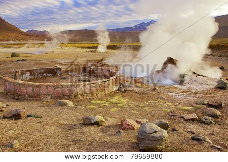 Beautiful El Tatio geysers at sunrise, Chile.