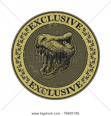 Trex head. hand drawn. Grunge vector illustration