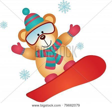 Teddy bear on a snowboard