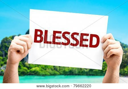 Blessed card with a beach on background