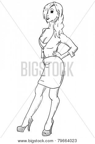 vector - Young Beautiful Woman - isolated on background
