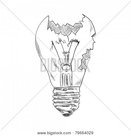vector -  broken bulb - isolated on background