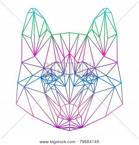 Polygonal Abstract Vector Gradient Colored Husky Dog Silhouette Drawn In One Continuous Line