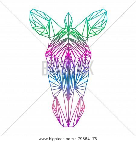 Polygonal Abstract Zebra Silhouette Drawn In One Continuous Line Isolated On A White Background