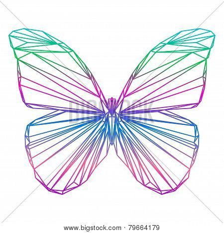 Polygonal Abstract Vector Gradient Colored Butterfly Silhouette Drawn In One Continuous Line