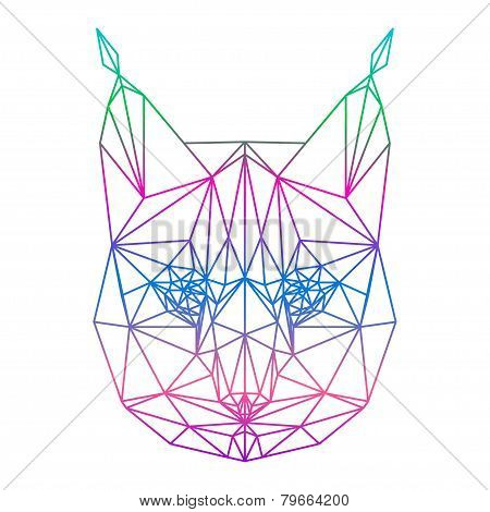 Polygonal Abstract Vector Gradient Colored Lynx Silhouette Drawn In One Continuous Line Isolated