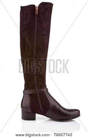 Elegant female knee high boot (inner side) isolated on white