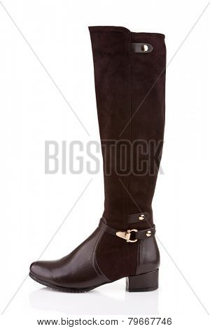 Elegant female knee high boot isolated on white