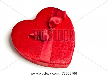 A Red, cloth valentine heart box