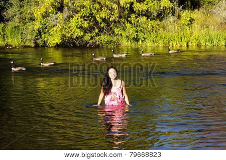 Young Attractive Japanese Woman Portrait Standing River