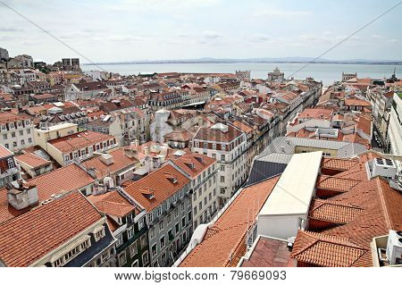 View Of Lisbon From The Elevator  De Santa Justa