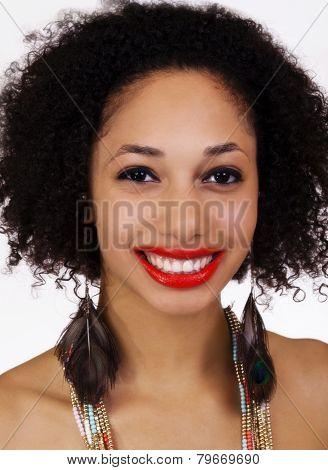 Smiling Portrait Attrative Light Skinned Black Woman