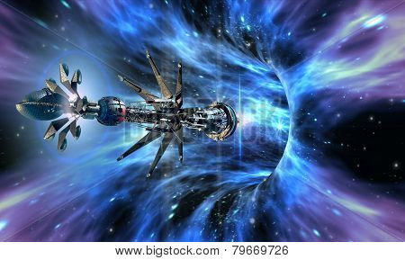 Interstellar spaceship entering a wormhole