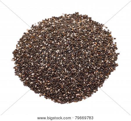 Heap of chia seeds on white
