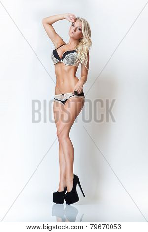 Fashion Attractive Blonde Slim Girl In Lingerie