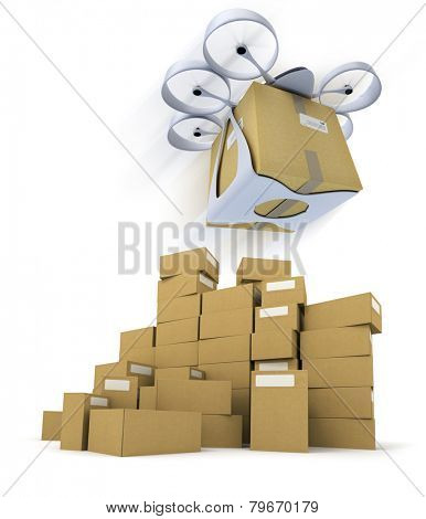 3D rendering of a flying drone carrying a box with a pile of boxes underneath