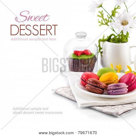 Sweet coloured macaroons dessert isolated on white background