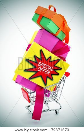 a signboard with the text special offer and a pile of boxes of different colors in a shopping cart