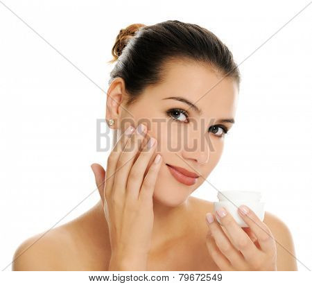 woman with cream