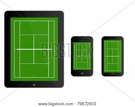 Mobile Devices With Tennis Court Black