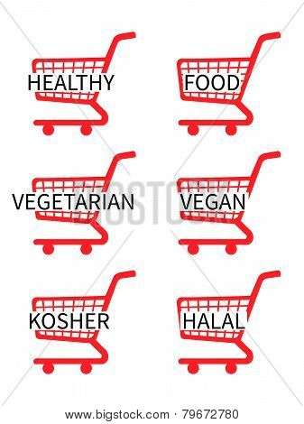 Red Shopping Cart Icons With Healthy Food Texts